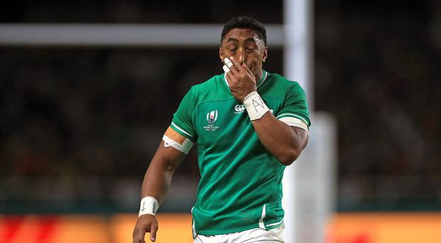 Bundee Aki, pictured, covers his face after being sent off in Ireland's World Cup win over Samoa (Adam Davy/PA)