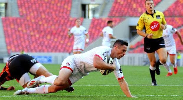 Ulster's John Cooney scores Ulster's opening try against the Southern Kings (Inpho/Richard Huggard)
