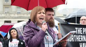 Lyra Mc Kee's sister Nicola speaking at the protest