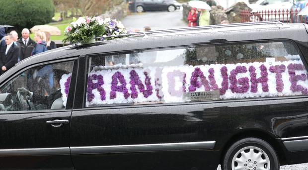 The coffin of Aimee Brady (11) arrives for a funeral service at St Swithin's parish church, Magherafelt. Photo by Peter Morrison