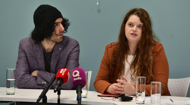 Emma De Souza and her Husband Jake speak to the media at in Belfast on Monday after she lost her case. Photo Colm Lenaghan/Pacemaker Press