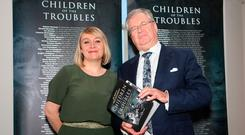 Joe Duffy and Freya McClements, the authors of Children of the Troubles — a book dedicated to children killed during the conflict — at the launch in the Titanic Hotel, Belfast last night