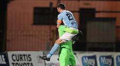 Ballymena's Jordan Williamson is the penalty shoot out hero. Photo Desmond Loughery/Pacemaker Press