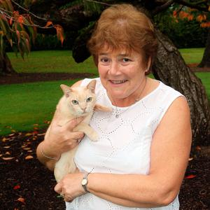 Cat's whiskers: June Ferguson with one of her pets