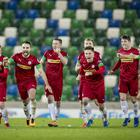 Cliftonville celebrate winning the County Antrim Shield quarter final at Windsor Park, Belfast on October 15th 2019 (Photo by Kevin Scott for Belfast Telegraph)