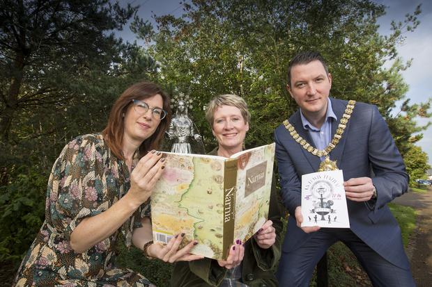 L-R Festival Director Rachel Kennedy Sonya Whitefield from Arts Council of Northern Ireland and Lord Mayor of Belfast Cllr John Finucane