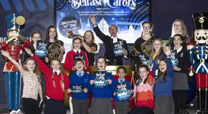 Conductor Clifford Lowry with pupils from Whiteabbey, Templepatrick, St Colman's, Riverdale and St MacNissi's primary schools.