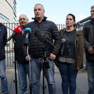 Jean McConville's children speak to the media outside Belfast Crown Court (Brian Lawless/PA)