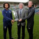 Linfield's Bastien Hery, Pat Jennings OBE and Dundalk's Chris Shields with the Unite the Union Champions Cup trophy at Windsor Park (Philip Magowan/Inpho)
