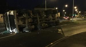 The lorry overturned on bottom of Donaghadee Road in Newtownards.