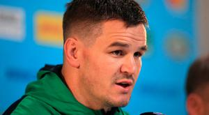 Ireland's Johnny Sexton speaks to the press ahead of the World Cup game against New Zealand.
