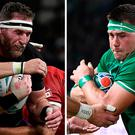 New Zealand's number eight Kieran Read Ireland's back row CJ Stander.