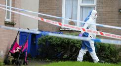 Press Eye - Belfast - Northern Ireland - 18th October 2019 The scene at the Kings Road area of Tullycarnet in east Belfast where a man died on Thursday night Picture by Jonathan Porter/PressEye