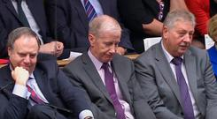 DUP MPs Nigel Dodds, Gregory Campbell, and Sammy Wilson listen as Prime Minister Boris Johnson delivers a statement in the House of Commons