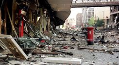 The IRA broke its ceasefire in 1996 with a series of bombs in England, including a massive blast in Manchester on June 15 (Paul Barker/PA)