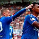 Rangers Alfredo Morelos (right) celebrates scoring his side's first goal of the game with team mate Steven Davis during the Ladbrokes Scottish Premiership match at Tynecastle Park, Jane Barlow/PA Wire. EDITORIAL USE ONLY