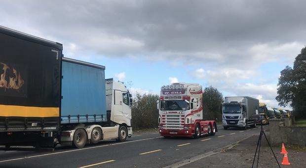 150 trucks make their way from Donegal across the border into Co Londonderry (Cate McCurry/PA)