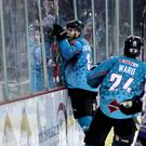 Belfast Giants winger Jordan Smotherman celebrates scoring the game-winner against the Manchester Storm (William Cherry/Presseye)