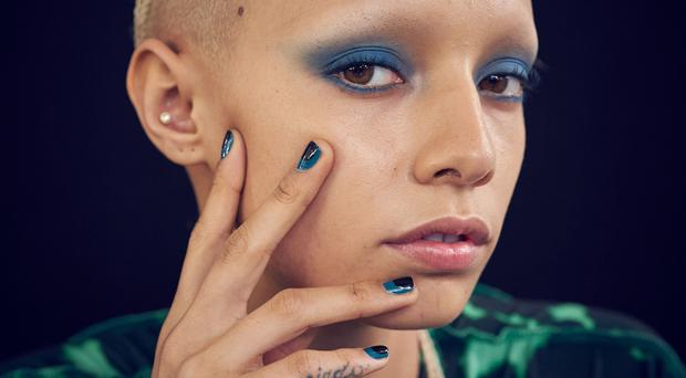 Mani makeover: A model backstage at the House of Holland show