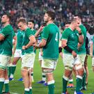 Ireland players appear dejected after the 2019 Rugby World Cup Quarter Final match at Tokyo Stadium (Adam Davy/PA)