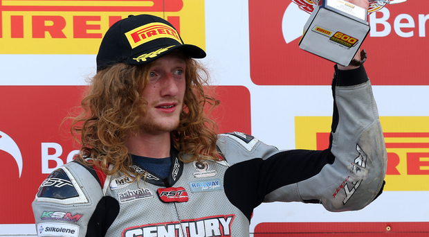 On a high: Korie McGreevy after winning Superstock 600 Championship at Brands Hatch