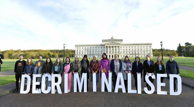 Pro choice campaigners backed by Amnesty International pictured at Stormont ahead of todays ruling that will decriminalise abortion in Northern Ireland. Credit Stephen Hamilton /Presseye