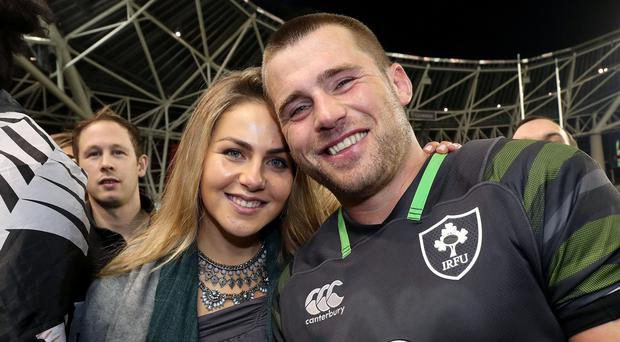 Ireland's CJ Stander with his wife Jean-Marié.