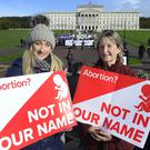 Pro-life posters at the rally held today at Stormont. Photo Laura Davison/Pacemaker Press