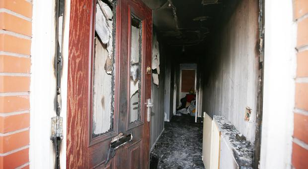 Press Eye - Belfast - Northern Ireland - 21st October 2019 The scene on Ardoyne Avenue in north Belfast where a property was targeted in an overnight arson attack. Picture by Jonathan Porter/PressEye