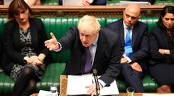 Boris Johnson speaking in the House of Commons, London during the debate for the European Union (Withdrawal Agreement) Bill: Second Reading.