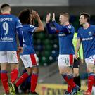 Goal celebrations for Linfields Shayne Lavery after he scores his second goal during this evening's game at Windsor Park.