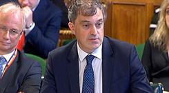 Northern Ireland Secretary Julian Smith appearing before the Northern Ireland Affairs Select Committee in the House of Commons. Pic PA Wire