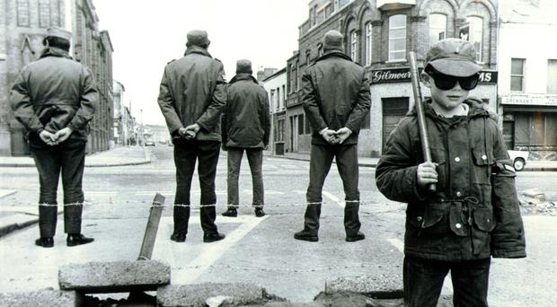 UDA members and a young boy on Belfast's Shankill Road in July 1972