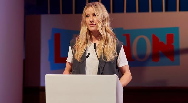 Ellie Goulding giving her speech at the One Young World summit (One Young World)