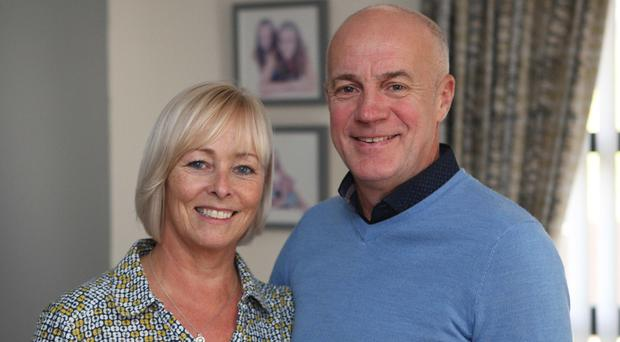 Former Linfield midfielder Lee Doherty and his wife Sharon.