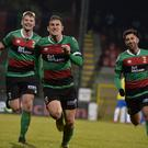 PACEMAKER BELFAST 25/10/2019 Glentoran v Ballymena United Danske Bank Premiership GlentoranÕs Marcus Kane scores during this evenings game at the Oval in Belfast. Photo Colm Lenaghan/Pacemaker Press
