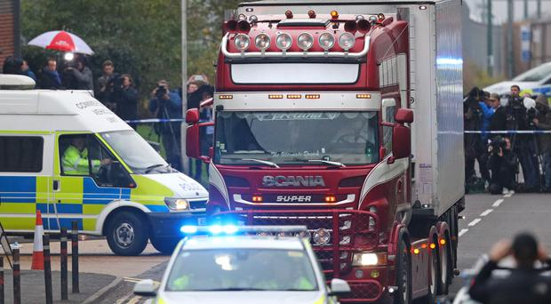 The container lorry where 39 people were found dead inside (Aaron Chown/PA)
