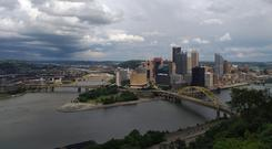 Viewing the city from the Duquesne Incline near Pittsburgh's South Side neighbourhood