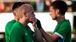 Ireland's Eugene Magee and Jonathan Bell is disbelief after Sunday's defeat.