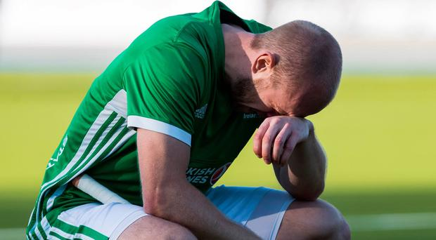Ireland players were distraught after their contentious Olympic qualifying defeat on Sunday.