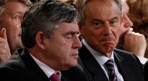 Former British Prime Ministers Tony Blair and Gordon Brown (Christopher Furlong/PA)