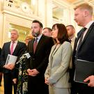 SDLP members after walking out of the Assembly chamber during last week's debate