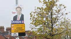 A Nigel Dodds election poster in north Belfast