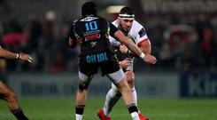 Ulster's Marcell Coetzee goes up against Zebre's Carlo Canna (INPHO/Oisin Keniry)