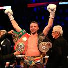 Josh Taylor celebrates victory over Regis Prograis during the World Boxing Super Series. Credit: Stephen Pond/Getty Images