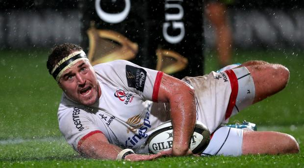 Ulster's Rob Herring scores a try. Credit: INPHO/Oisin Keniry
