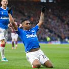 Rangers' Alfredo Morelos celebrates scoring his side's third goal of the game at Hampden Park, Glasgow. Credit: Jeff Holmes/PA Wire