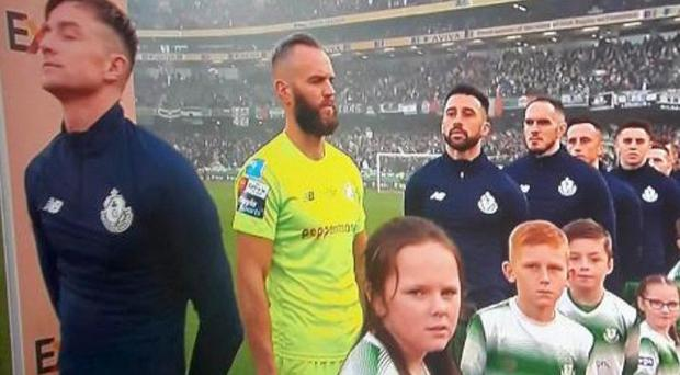Rovers' Alan Mannus did not face the Irish flag during the playing of the national anthem