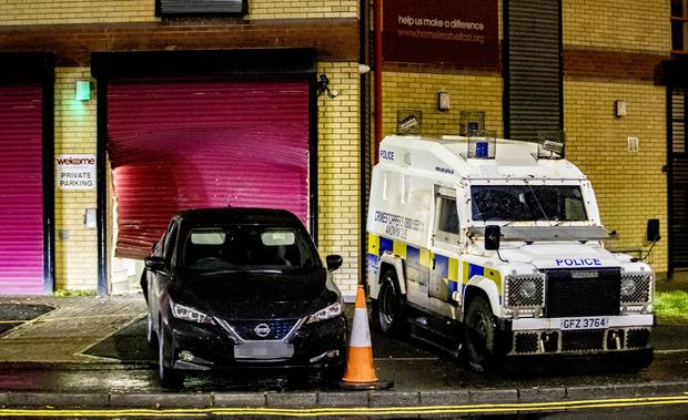 Police at the Welcome Centre, west Belfast on November 4th 2019 where a car has rammed through the shutters (Photo by Kevin Scott for Belfast Telegraph)