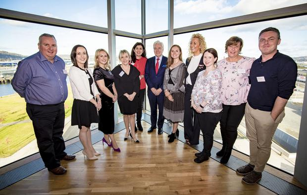 Daryl Simpson , Caroline Donaghy , Caroline Geary, Orla Franklin, Kathleen Crumlish, Dr Len O'Hagan, Rachel Power, Jennie Ryan, Marie Lavelle, Sharon Hayden and Kevin O'Farrell during the All-Island Congenital Heart Disease Network Conference 2019 on November 8th 2019 (Photo by Kevin Scott for Belfast Telegraph)